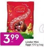 Lindt Lindor Mini Eggs 100 g Bag