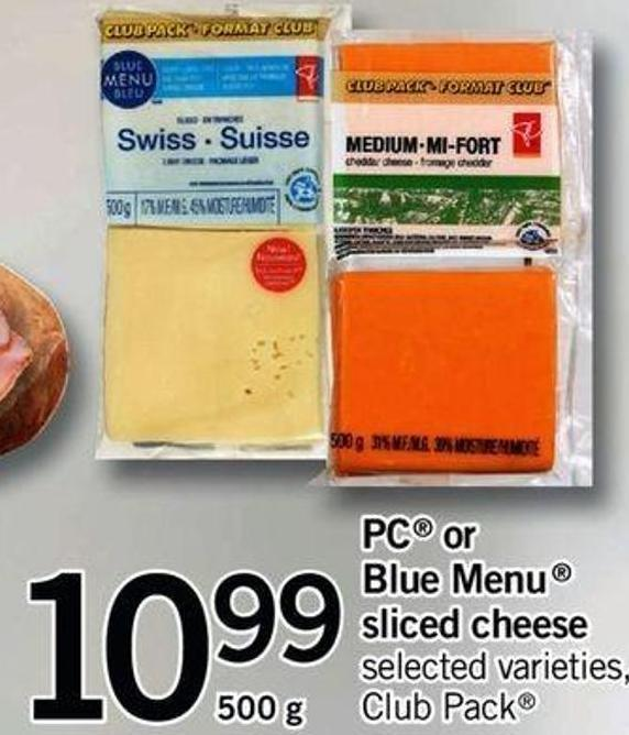 PC Or Blue Menu Sliced Cheese - 500 Gxpc Or Blue Menu Sliced Cheese - 500 g