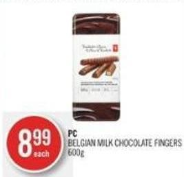 PC Belgian Milk Chocolate Fingers 600g
