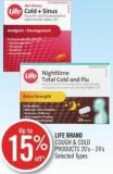 Life Brand Cough & Cold Products 20's - 24's