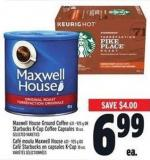 Maxwell House Ground Coffee 631 - 925 g or Starbucks  K-cup Coffee Capsules 10 Un.