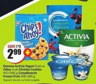 Danone Activia Yogurt 8 Pk or Oikos 4 Pk Christie Cookies 453-500 g Compliments Frozen Fruit 400-600 g