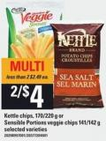 Kettle Chips 170/220 g Or Sensible Portions Veggie Chips 141/142 g