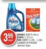 Bounce Sheets (60's) - Purex (1.47l) or Tide Simply (1.09l - 1.18l) Laundry Detergent