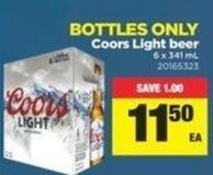 Coors Light Beer - 6 X 341 mL