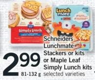 Schneiders Lunchmate Stackers Or Kits Or Maple Leaf Simply Lunch Kits - 81-132 g