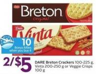 Dare Breton Crackers - 10 Air Miles Bonus Miles 100-225 g - Vinta 200-250 g or Veggie Crisps 100 g
