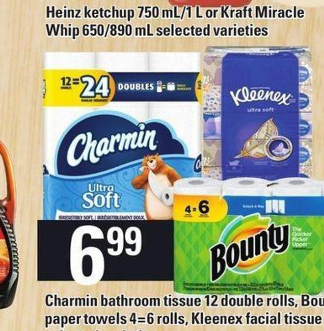 Charmin Bathroom Tissue 12 Double Rolls - Bounty Paper Towels 4=6 Rolls - Kleenex Facial Tissue 6's