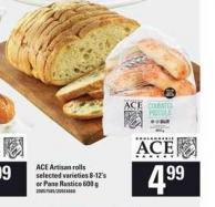 Ace Artisan Rolls - 8-12's Or Pane Rustico - 600 G
