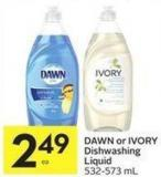 Dawn or Ivory Dishwashing Liquid 532-573 mL