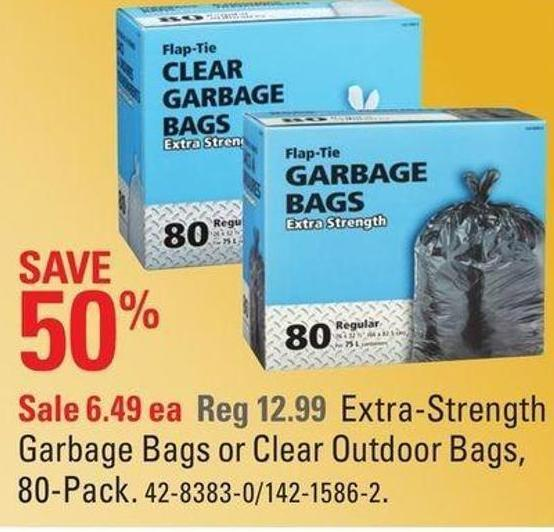 Extra-strength Garbage Bags or Clear Outdoor Bags - 80-pack