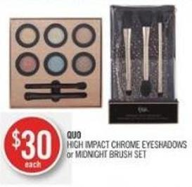 Quo High Impact Chrome Eyeshadows or Midnight Brush Set