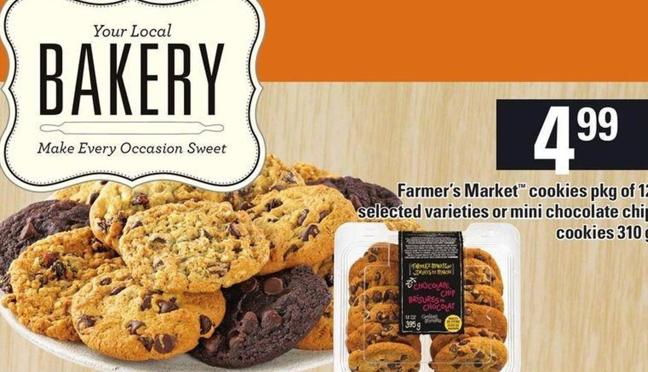 Farmer's Market Cookies Pkg Of 12 Selected Varieties Or Mini Chocolate Chip Cookies 310 G