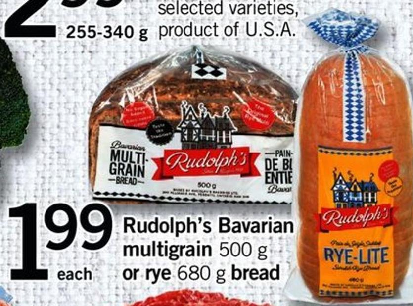 Rudolph's Bavarian Multigrain - 500 G Or Rye - 680 G Bread