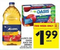 Allen's Or Oasis Juice Or Drinks