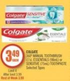 Colgate  360º Manual Toothbrush (1's) - Essentials (98ml) or Sensitive (75ml) Toothpaste