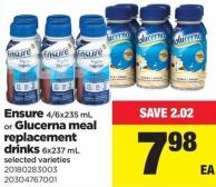 Ensure - 4/6x235 Ml Or Glucerna Meal Replacement Drinks - 6x237 Ml