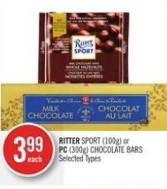 Ritter Sport (100g) or PC (300g) Chocolate Bars