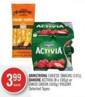 Armstrong Cheese Snacks (10's) - Danone Activia (8 X 100g) or Oikos Greek (500g) Yogurt