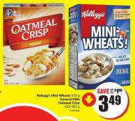 Kellogg's Mini-wheats 510 g General Mills Oatmeal Crisp 425-505 g