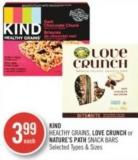 Kind Healthy Grains - Love Crunch or Nature's Path Snack Bars