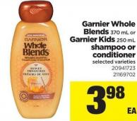 Garnier Whole Blends - 370 Ml Or Garnier Kids - 250 Ml Shampoo Or Conditioner