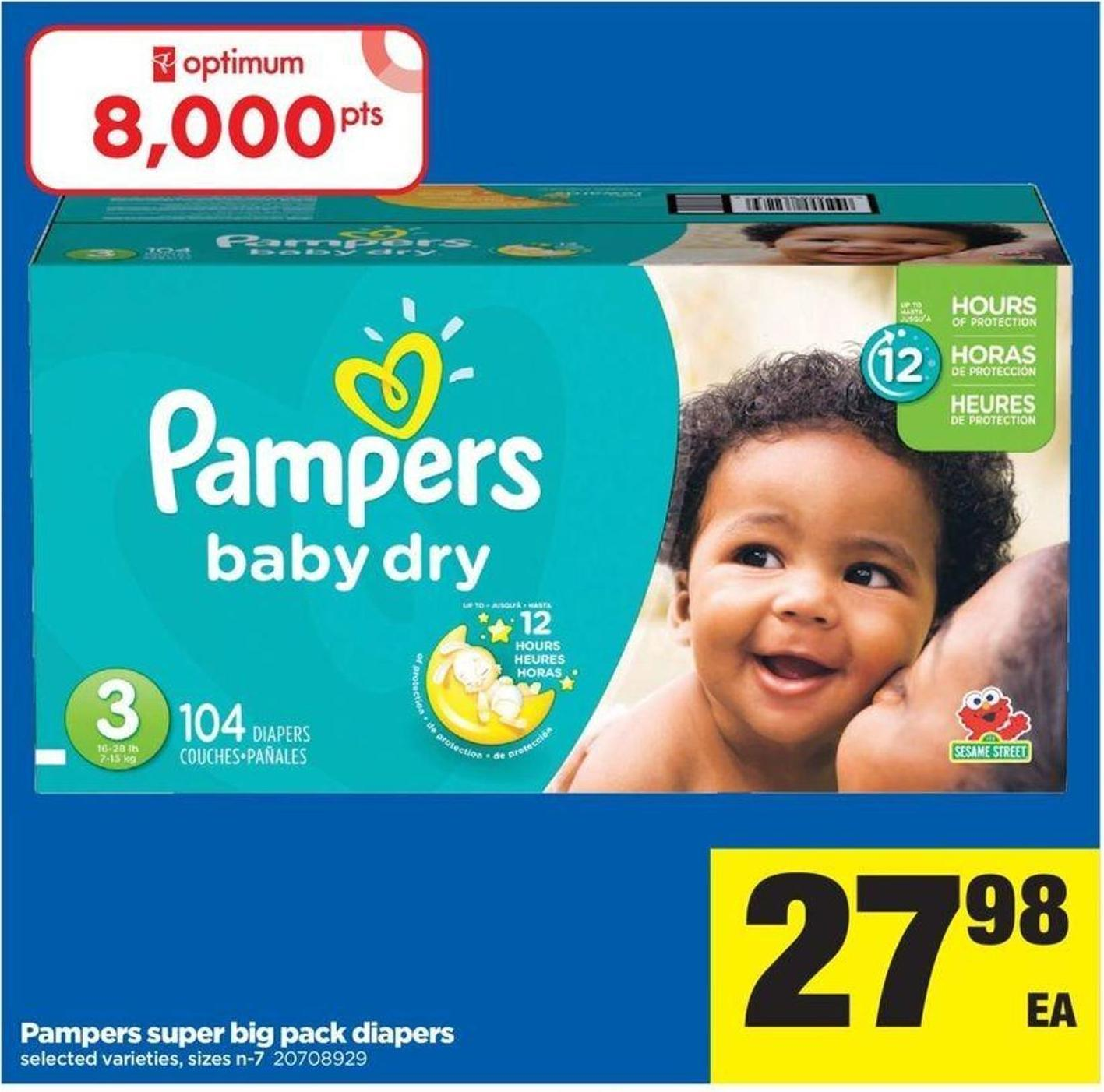 Pampers Super Big Pack Diapers - Sizes N-7