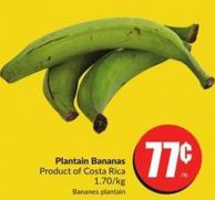 Plantain Bananas Product of Costa Rica 1.70/kg