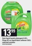 Gain Liquid Laundry Detergent 4.43 L - Flings 42's Or Liquid Fabric Softener 3.83 L