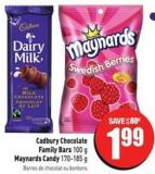 Cadbury Chocolate Family Bars 100 g Maynards Candy 170-185 g