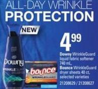 Downy Wrinkleguard Liquid Fabric Softener - 740 Ml - Bounce Wrinkleguard Dryer Sheets - 40 Ct