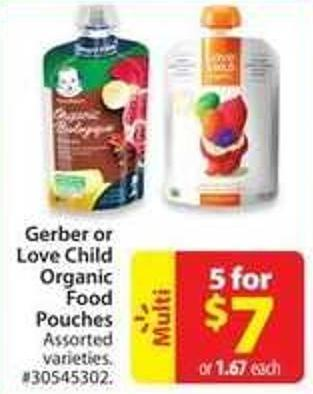 Gerber or Love Child Organic Food Pouches