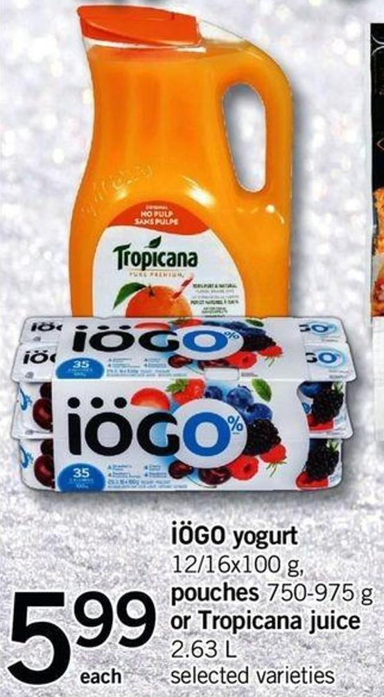 Iögo Yogurt - 12/16x100 G - Pouches - 750-975 G Or Tropicana Juice - 2.63 L