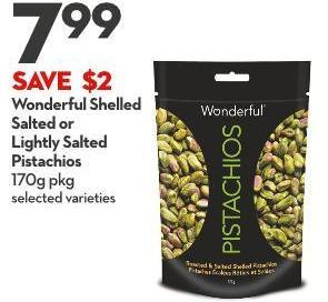 Wonderful Shelled  Salted or  Lightly Salted  Pistachios 170g Pkg