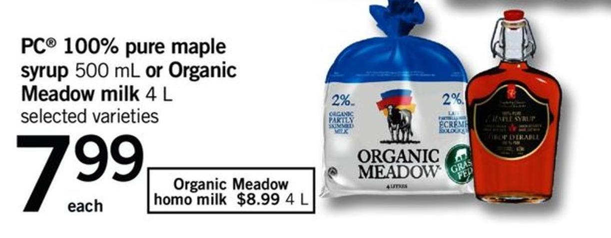PC 100% Pure Maple Syrup 500 Ml Or Organic Meadow Milk 4 L