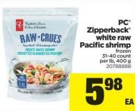 PC Zipperback White Raw Pacific Shrimp