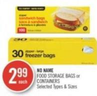 No Name Food Storage Bags or Containers