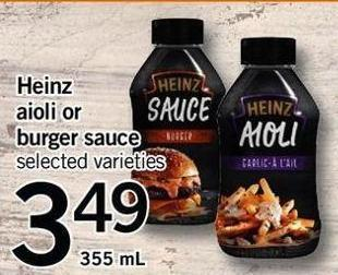 Heinz Aioli Or Burger Sauce - 355 Ml