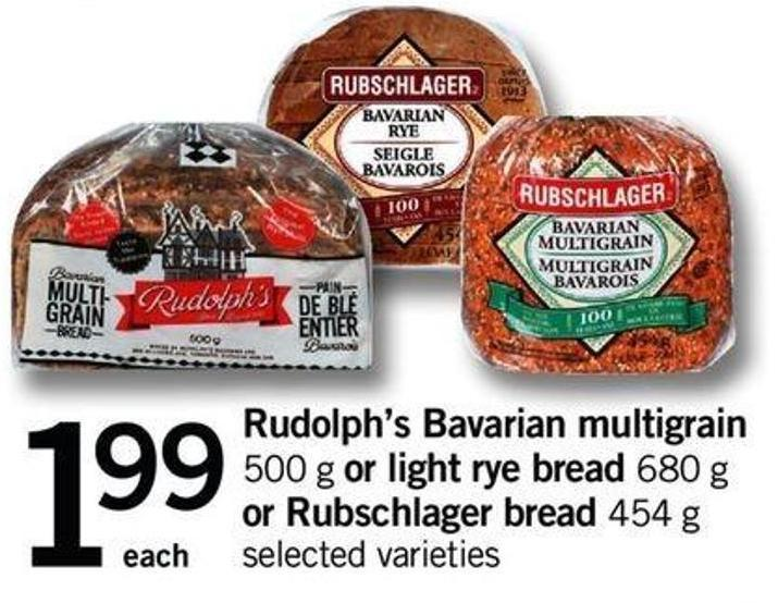 Rudolph's Bavarian Multigrain - 500 G Or Light Rye Bread - 680 G Or Rubschlager Bread - 454 G