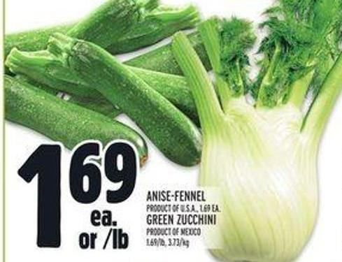 Anise-fennel Product Of U.S.A. - Green Zucchini Product Of Mexico
