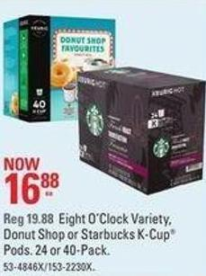 Eight O'clock Variety - Donut Shop or Starbucks K-cup Pods