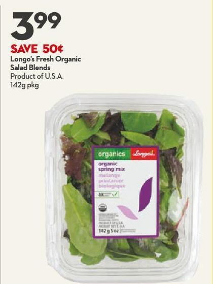 Longo's Fresh Organic Salad Blends Product of U.S.A.