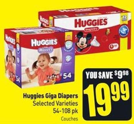 Huggies Giga Diapers Selected Varieties 54-108 Pk