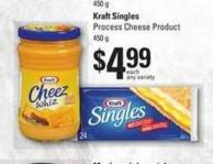 Cheez Whiz Cheese Spread - 450 g - Kraft Singles Process Cheese Product - 450 g