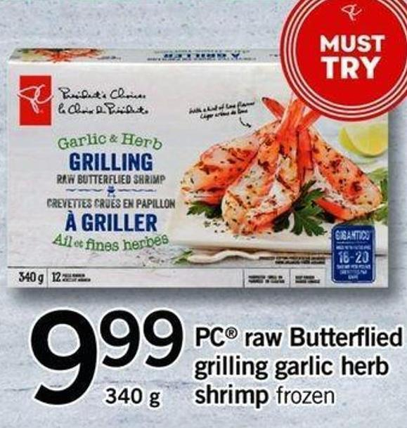 PC Raw Butterflied Grilling Garlic Herb Shrimp - 340g