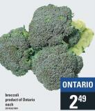 Broccoli Product of Ontario