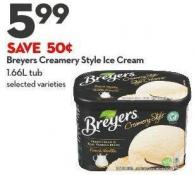 Breyers Creamery Style Ice Cream  1.66l Tub