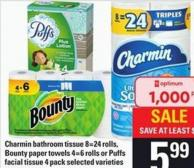Charmin Bathroom Tissue - 8=24 Rolls - Bounty Paper Towels - 4=6 Rolls Or Puffs Facial Tissue - 4 Pack
