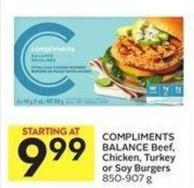 Compliments Balance Beef - Chicken - Turkey or Soy Burgers 850-907 g
