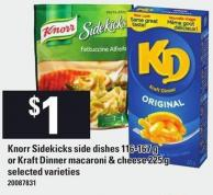 Knorr Sidekicks Side Dishes - 116-167 G Or Kraft Dinner Macaroni & Cheese - 225 G